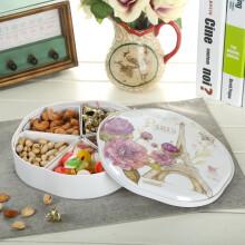 爱屋格林欧式坚果盘干果盒分格带盖糖果盒北欧客厅家用密胺瓜子盘零食盘年货婚庆收纳盒五分格 浪漫巴黎