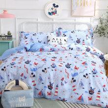 京东超市 迪士尼(Disney)床品套件 儿童全棉卡通四件套 冰雪奇缘 艾莎公主 活性印染 粉色 1.5米床 航海米奇--四件套