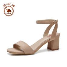 骆驼牌女鞋 简约一字带高跟鞋通勤时尚性感粗跟凉鞋女 W82501504 米白 37/235码