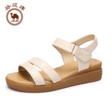 骆驼牌 女士简约日常休闲舒适头层纳帕牛皮凉鞋 W82504515 米色 38/240码