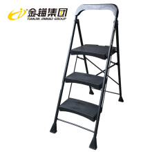 金锚 梯子铁家用折叠铁梯出口三步人字梯TM82-103I工作高度0.74米带工具栏