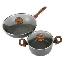 乐扣乐扣 炒锅汤锅二件套麦饭石色套装3件套组合厨房煎锅汤锅不粘锅具 两件套