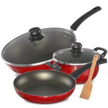 爱仕达(ASD)新不粘少油烟套装锅三件套装炒锅/煎锅/汤锅明火专用 红色