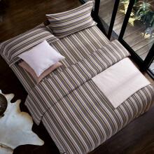黄河口老粗布床上四件套长绒棉 加厚条纹床单被套四件套 家纺床上用品老粗布四件套 1.8米床上四件套 时尚灰 1.8/2.0米床四件套(被套200*230)