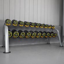 康强商用包胶哑铃男士健身器材健身房包胶固定式哑铃 2.5KG-25KG含10付哑铃架 预订款