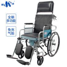 凯洋加固高靠背全躺轻便带坐便盆老人手动轮椅代步车多功能助行器带护理双刹防倾倒单只小轮随机发KY609GC