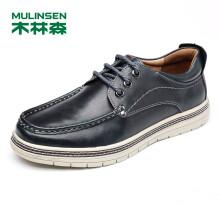 木林森(MULINSEN)潮流男鞋帆船鞋 日常休闲时尚单鞋简约车缝线休闲板鞋 黑蓝 39码 SL77317