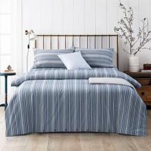 黄河口老粗布床上四件套长绒棉 加厚条纹床单被套四件套 家纺床上用品老粗布四件套 1.8米床上四件套 流离蓝 1.8/2.0米床四件套(被套200*230)