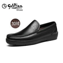 金利来(goldlion)男鞋商务休闲正装鞋舒适加绒皮鞋515740050AHL-黑色-39码