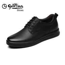 金利来(goldlion)休闲鞋男鞋舒适透气耐磨皮鞋59693009201A-黑色-38码