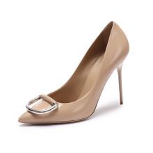 博柏利 BURBERRY 女士皮革D型环细高跟鞋 裸色胭脂红色 80069561 5/38码