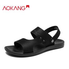 奥康(Aokang)男凉鞋透气时尚舒适休闲凉拖鞋沙滩鞋两穿103712024/1213721005  黑色38码