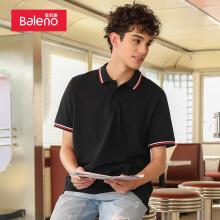 班尼路(Baleno)POLO衫男 男装弹力双色领短袖上衣T恤男 88901129 B25 S 00A 纯黑 XL