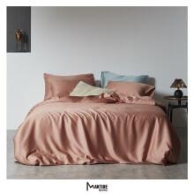 魅可 纯色双拼色60支天丝莱赛尔纤维床上四件套素色夏凉天丝床品L 预售款3-7天发货 西柚粉 1.5床200X230