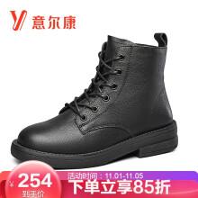 意尔康女鞋高帮马丁靴女时尚英伦风粗跟皮里短靴 9662ZH29998W 黑色 39
