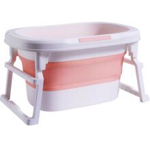 小猪酷琦 婴儿折叠浴桶儿童洗澡盆沐浴桶宝宝加大浴盆加厚保温游泳桶 活力橙