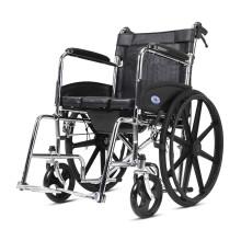 凯洋 高品质坐便轮椅带坐便器老人残疾人可折叠轻便小代步手推车免充气轮轮椅车 KY608FJ-46配餐板(黑灰随机)