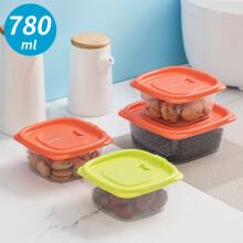 茶花 微波炉饭盒冰箱保鲜盒塑料饺子冷冻盒密封盒便当盒食品盒子收纳盒780ml 3支装 绿色 000004*