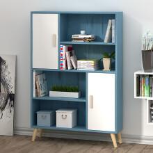 木以成居 储物柜木质 简易书架落地书柜带门 简约客厅卧室厨房阳台办公玩具收纳柜子 复古蓝+白色LY-4105