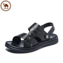 骆驼牌 凉鞋男质感牛皮两穿舒适凉拖鞋沙滩男鞋 W022287222 黑色 39