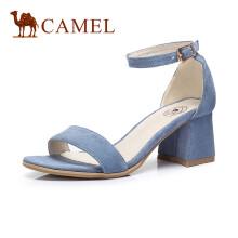 骆驼(CAMEL) 女鞋 一字带露趾高跟通勤凉鞋 A82521610 浅蓝 36