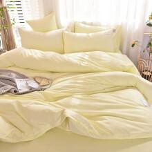 比韩家纺简约双拼纯色水洗多件套床单款 默认米黄 四件套1.8m(6英尺)床