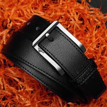 七匹狼男士皮带 休闲系列男式牛皮针扣裤腰带皮带男 7A92130700-2 黑色 (105-125cm)