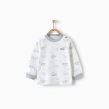 京东超市 童泰婴儿衣服宝宝纯棉家居服1-3岁婴幼儿纯棉肩开上衣 TY01J865 灰色 90