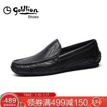 金利来(goldlion)商务休闲鞋时尚耐磨套脚鞋轻质皮鞋51101025301A-黑色-42码