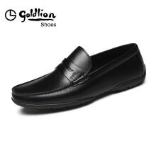 金利来(goldlion)男士柔软舒适套脚商务休闲皮鞋567820078ALB-黑色-41码