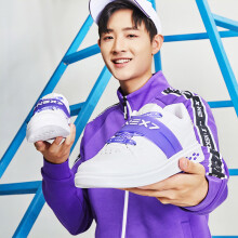 【乐华七子NEXT】特步男鞋板鞋2019春季新款时尚潮流舒适休闲鞋 星空紫 42