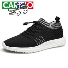 卡帝乐鳄鱼(CARTELO)时尚休闲男士户外透气低帮可调整松紧带跑步男鞋4012 黑色 39