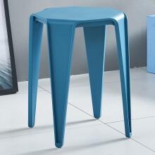 华恺之星 塑料凳子 家用休闲椅板凳餐椅子小边桌等位椅HK5063藏蓝色