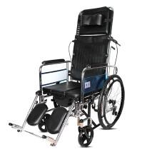 凯洋 凯洋 高品质轮椅可全躺平躺高靠背骨科腿带坐便器手刹后刹餐桌子老人免充气实心胎轻便可折叠轮椅车 KY607GCJ钢质可全躺不配餐板