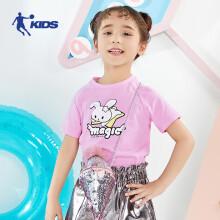 乔丹(QIAODAN)童装儿童T恤夏季小童绵柔印花打底衫洋气女童短袖t恤  QHS2401758茶花粉120CM