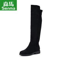 森马 Senma 女靴韩版时尚潮流拉链平底过膝长靴女靴显瘦高筒靴 629419004 黑色 35码