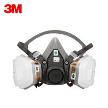 3M 6200套装 防毒面具 配10片滤棉 喷漆油漆面罩防化工农药喷洒专用面具口罩6200+6001 组装版