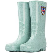 回力女士中高筒雨鞋雨靴水鞋胶鞋套鞋 863 石斑绿高筒 38
