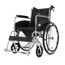 凯洋 高品质坐便轮椅带坐便老人残疾人助行器可折叠轻便小代步手推车免充气轮胎轮椅车 KY608LJ配餐板(黑灰随机)