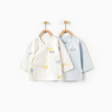 京东超市 童泰新款婴儿衣服1-6个月宝宝和服上衣新生儿家居内衣两件装 TS02J102 蓝色 66