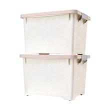 百草园收纳箱塑料整理箱35L 2个装儿童玩具储物箱带滑轮杂物箱粉色