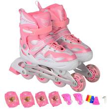 乐士(ENPEX) 溜冰鞋 儿童 成人 轮滑鞋 男女闪光轮旱冰鞋滑冰鞋 S号 粉色(送护具路障)