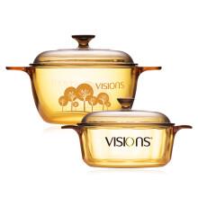 康宁(VISIONS) 1.25L透明玻璃汤锅+2.5L树影花色玻璃汤锅