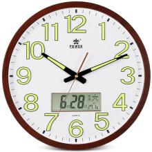 霸王(POWER)日历挂钟16英寸大号餐厅客厅办公万年历温度静音石英时钟 16英寸木纹色有夜光