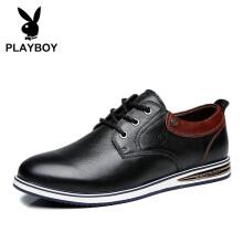 花花公子(PLAYBOY)商务休闲鞋 男士英伦休闲皮鞋男低帮潮流百搭板鞋 DA71035 黑色 40