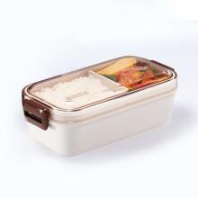 阿司倍鹭(ASVEL)LUNTUS 单层分格饭盒微波炉加热便当盒 白色800ML