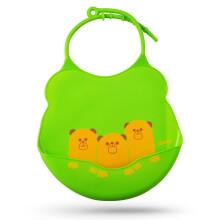 亲亲我(kidsme) 婴儿硅胶围兜防水饭兜口水巾 绿色