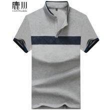 鹿川 新款男士t恤 短袖T恤男款 男士纯棉纺商务休闲立领T桖短袖 101灰色 L