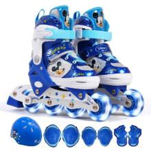 迪士尼(Disney)溜冰鞋儿童全套装男女轮滑鞋旱冰鞋八轮全闪滑冰鞋DCY41038-A8米奇中码