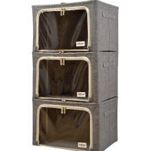 百草园欧式上品收纳箱 衣服杂物整理箱储物箱大号66L 3枚装 无印灰